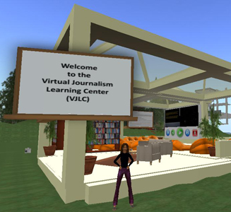 Dr. Amy Schmitz Weiss' avatar in Second Life at the entrance to the virtual training center